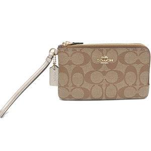 COACH Signature PVC Double Zip Wristlet Wallet